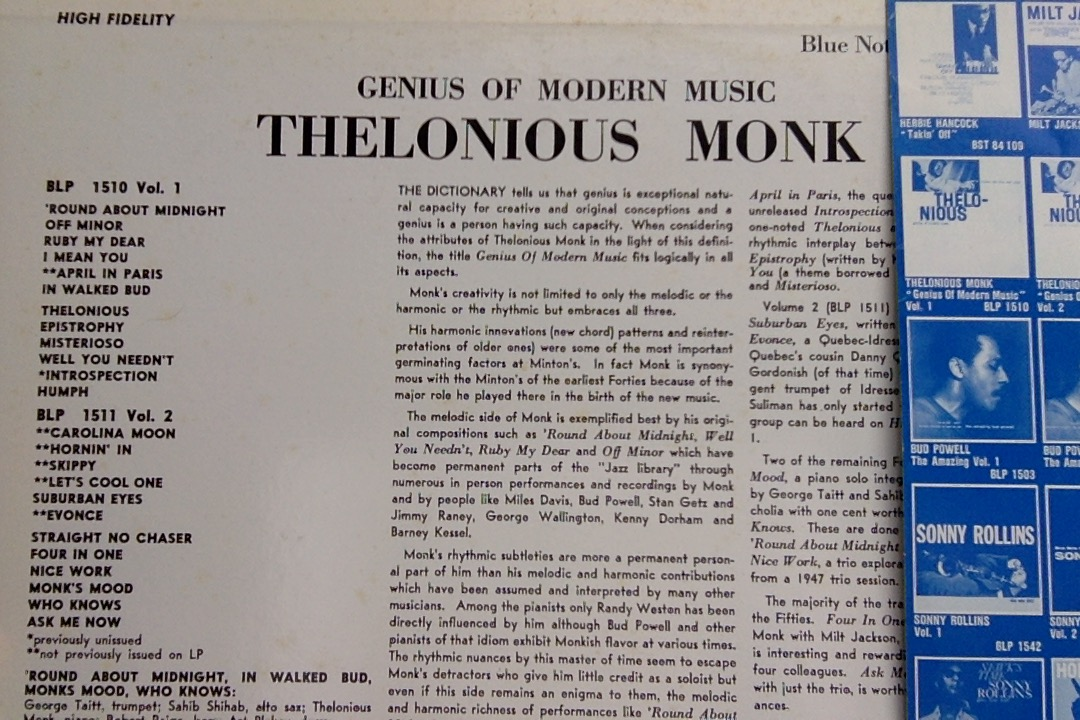 Thelonious Monk Genius of Modern Music vol 1 Blue Note 1510 back